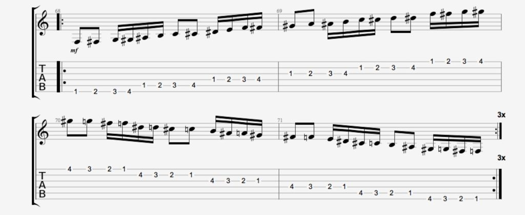 exercice guitare chromatique 11