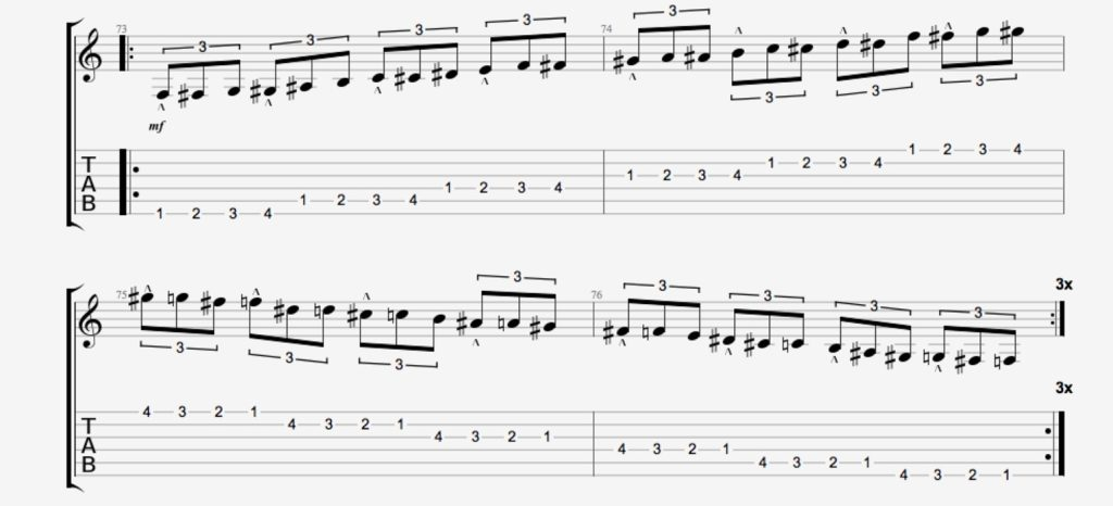 exercice guitare chromatique 12