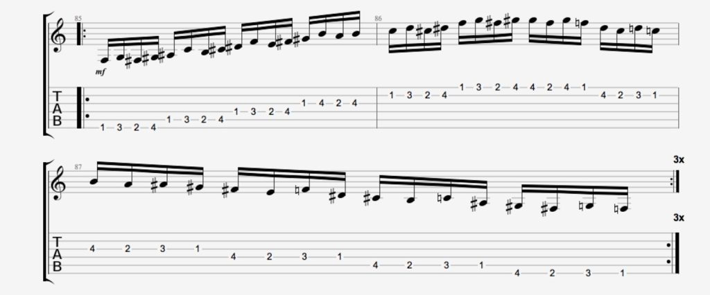 exercice guitare chromatique 14