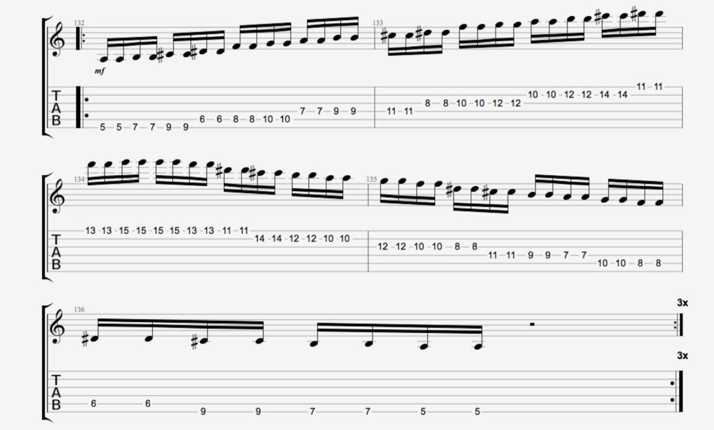 exercice guitare gamme par ton 1