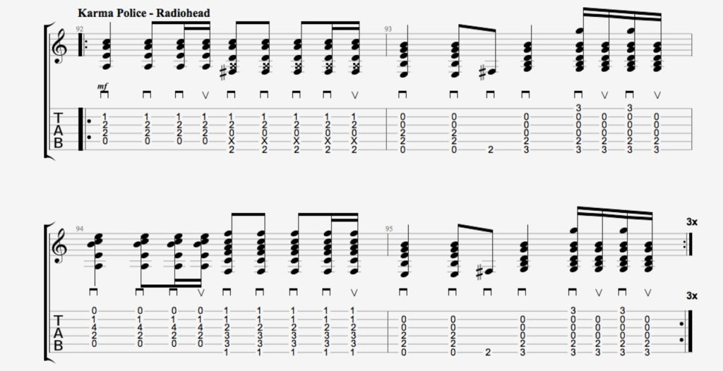 rythmique guitare karma police radiohead