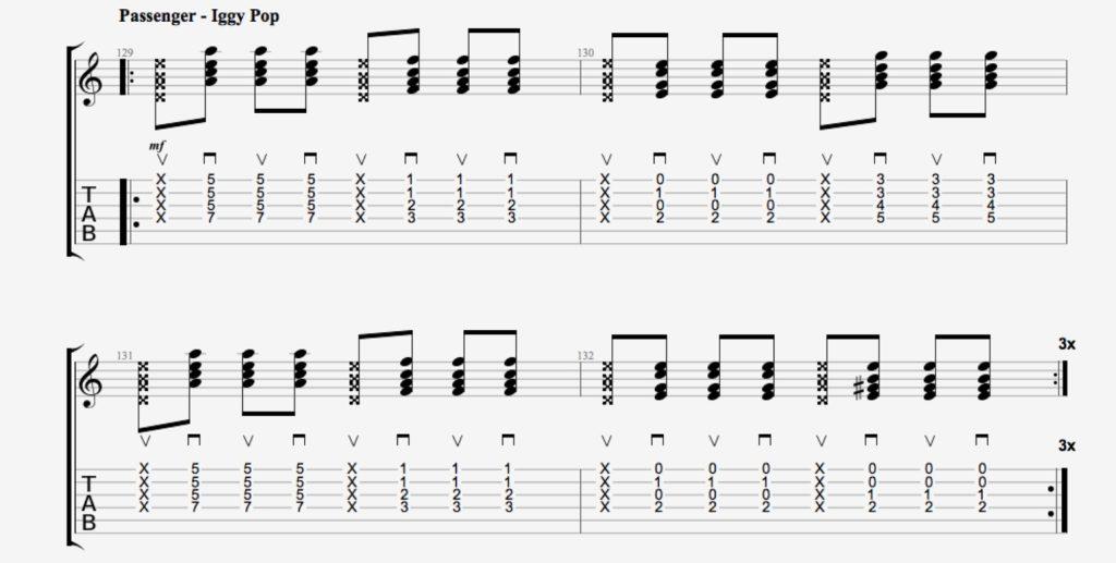 rythmique guitare passenger iggy pop