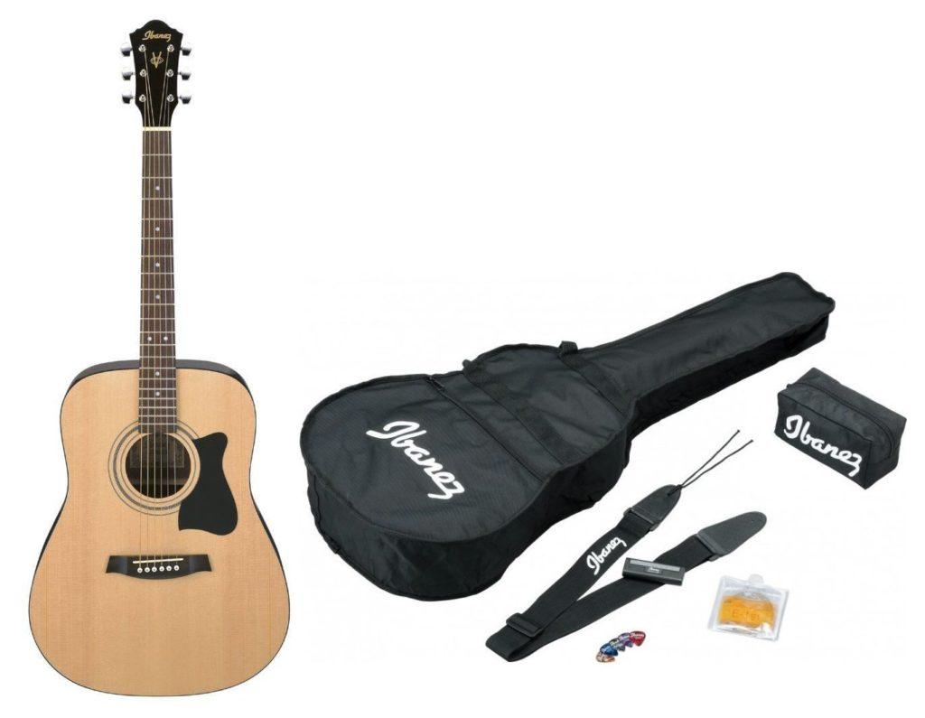 pack guitare ibanez v50njp-nt 6 cordes