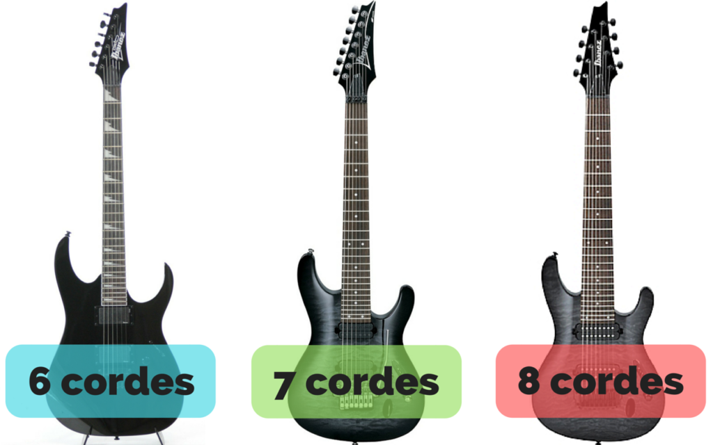 photo guitares 6, 7, 8 cordes