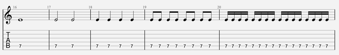 débit rythmique guitare tablature