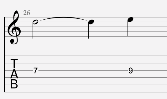note liée tablature