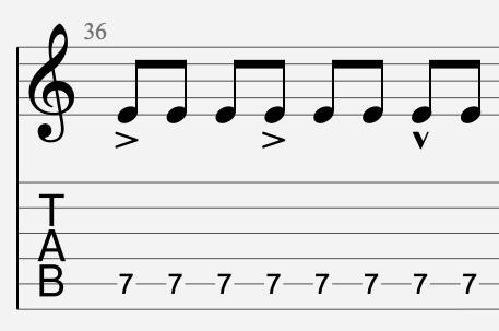 note accentuée tablature