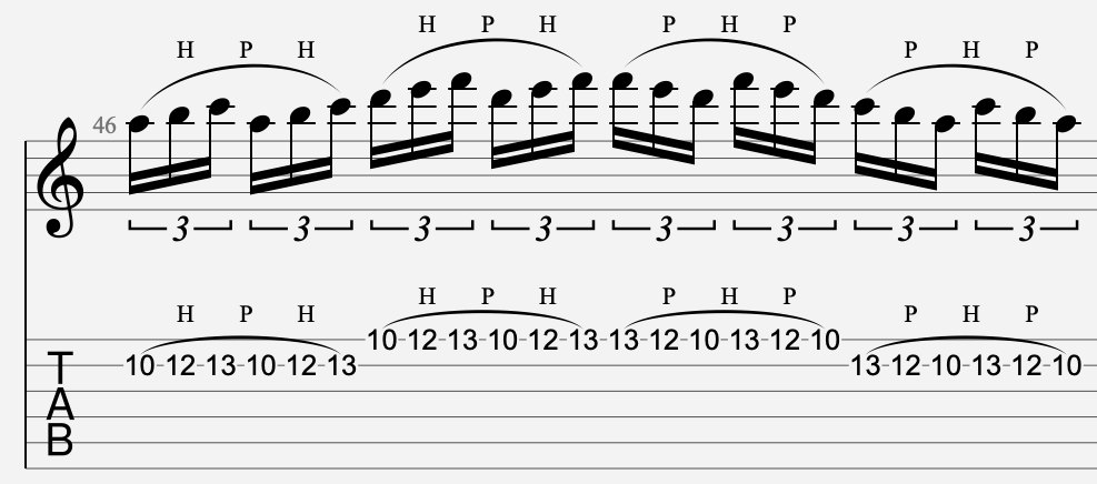legato tablature guitare
