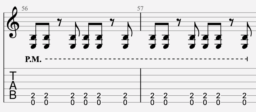 palm mute tablature guitare