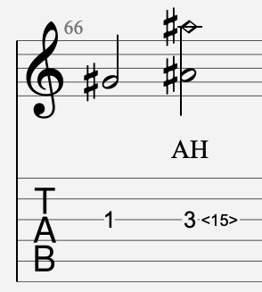 harmonique artificielle tablature