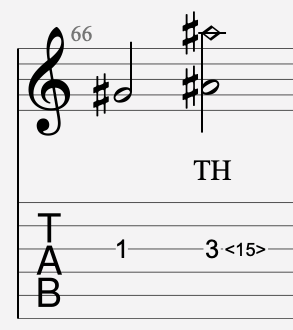 harmonique artificielle tapée tablature