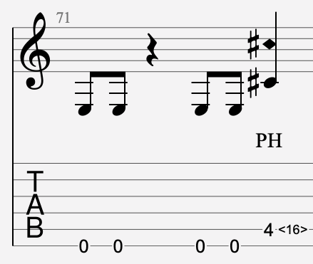 harmonique artificielle sifflée tablature