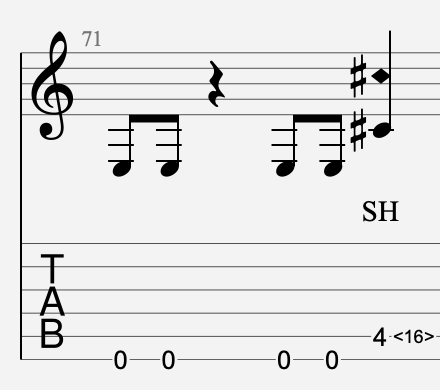 harmonique artificielle semi tablature