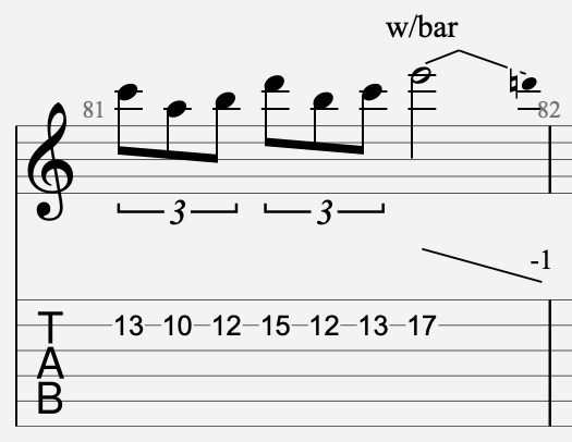 vibrato barre tremolo tablature