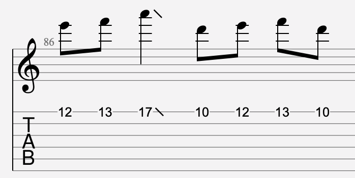 slide vers le grave tablature
