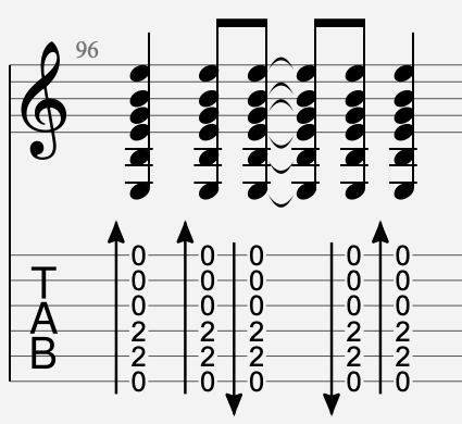 brush haut et bas tablature
