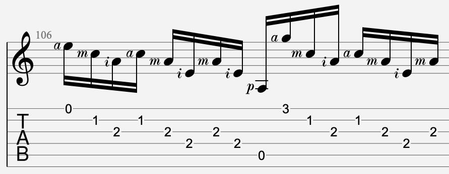 doigtés main droite pimac tablature guitare