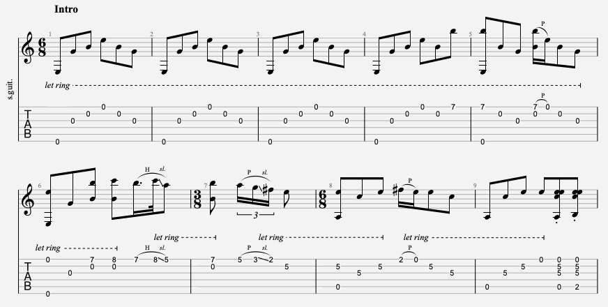 tablature débutant metallica