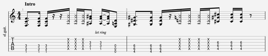 tablature guitare facile nirvana