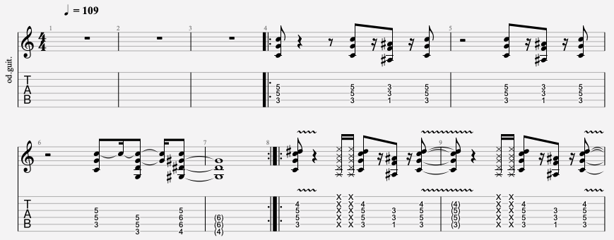 tablature guitare eye of the tiger