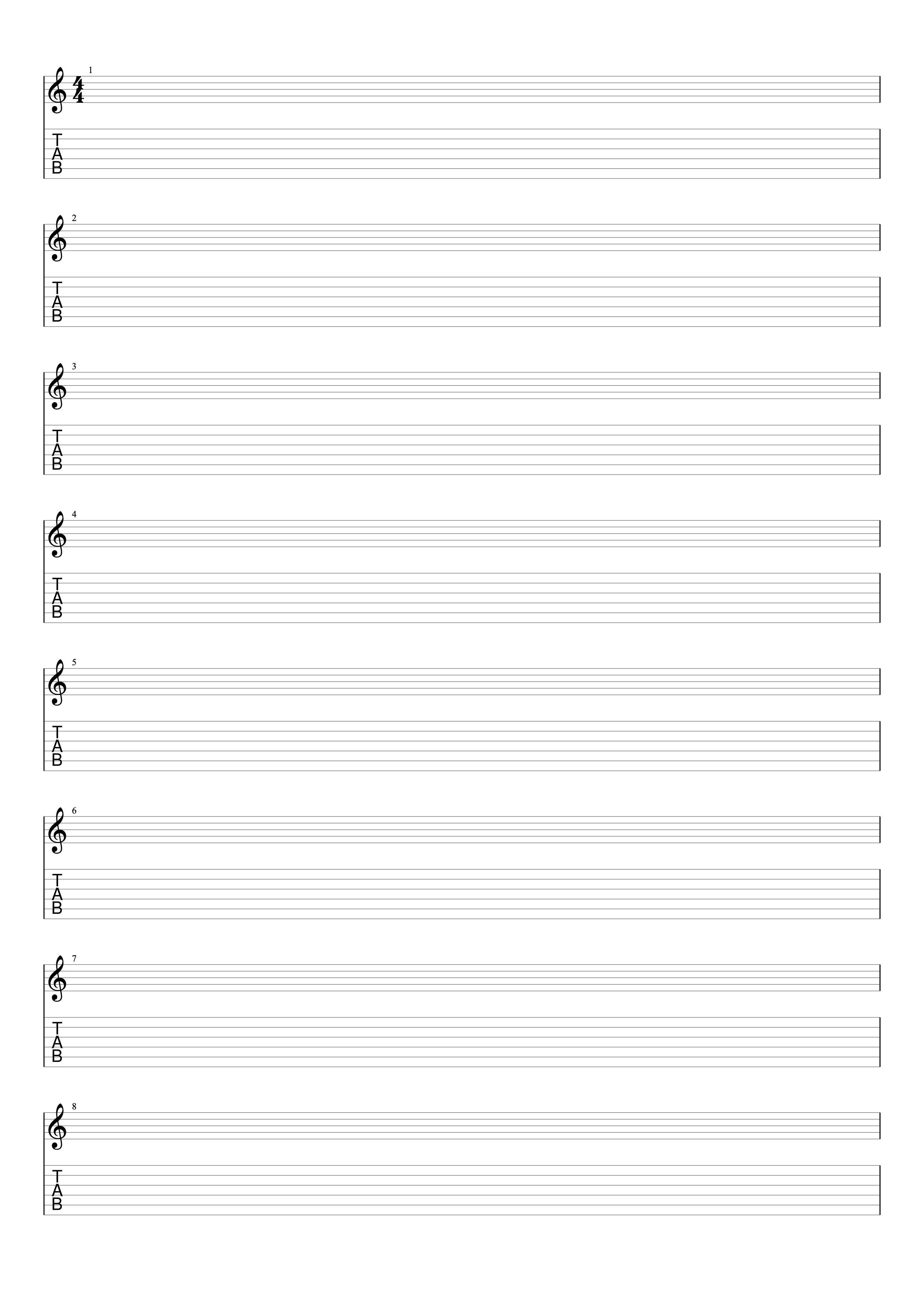 Tablatures Et Partitions De Guitare Vierges à Imprimer Gratuit