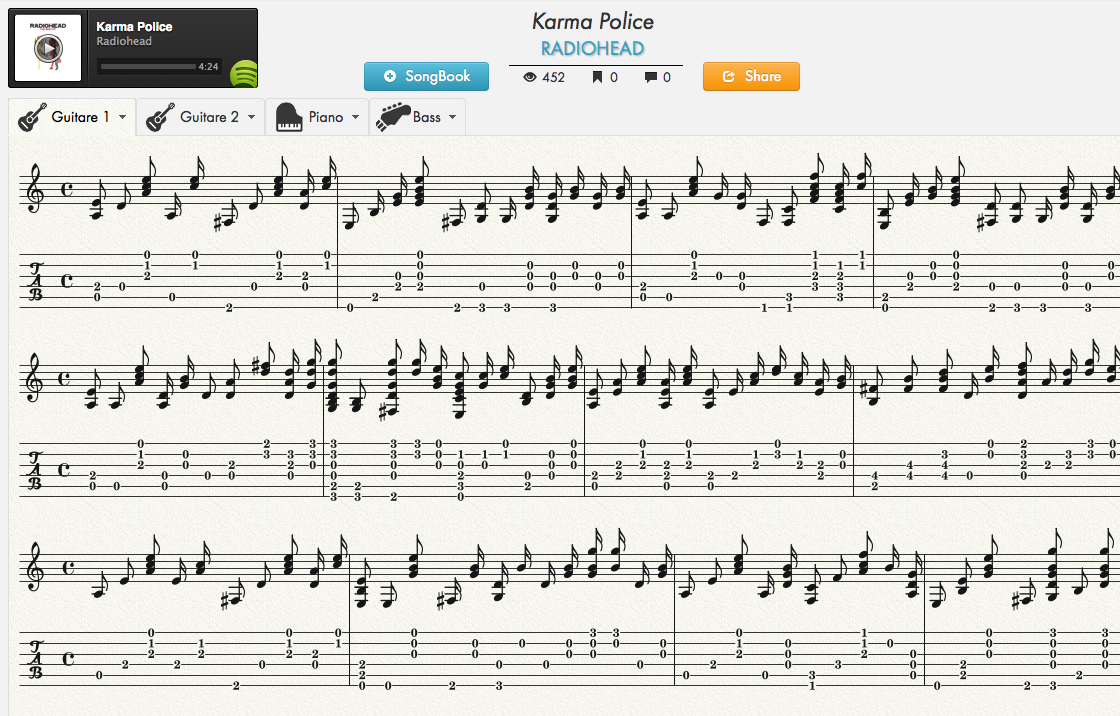 jellynote player web tablature