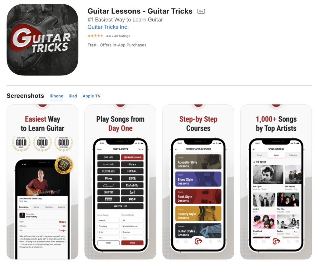 application mobile guitar tricks