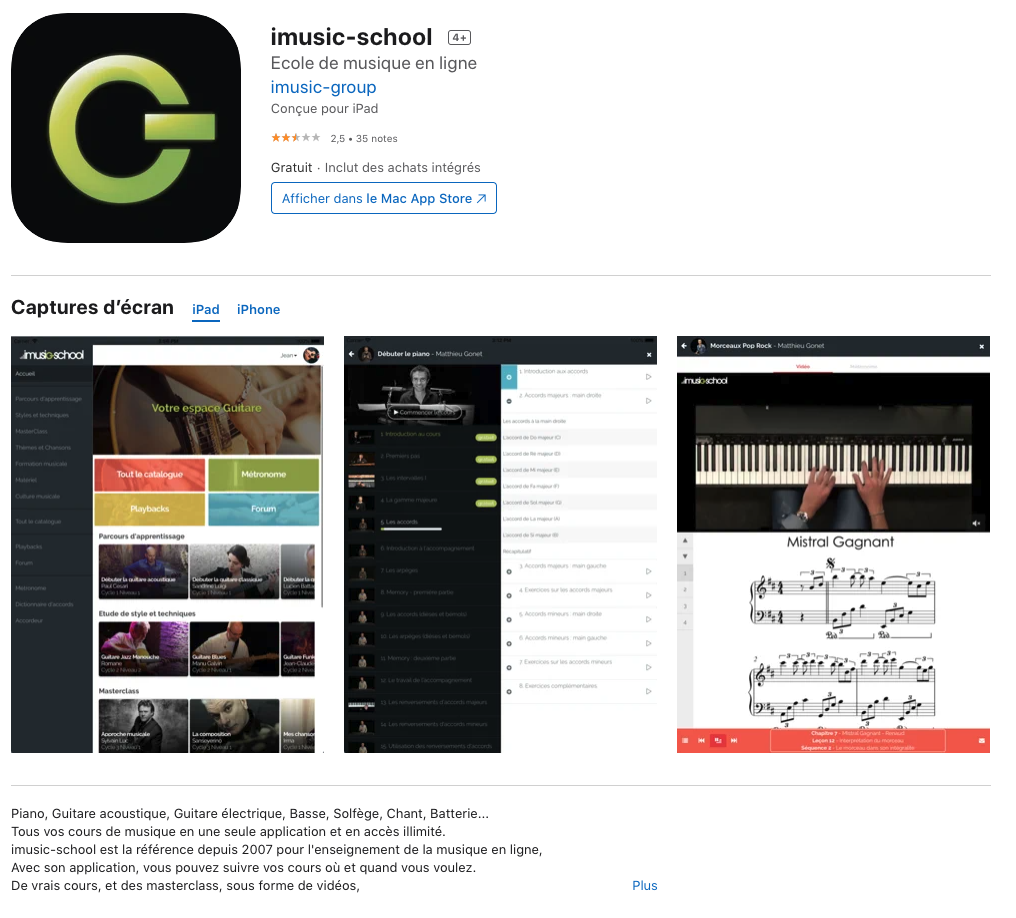 application mobile imusic-school