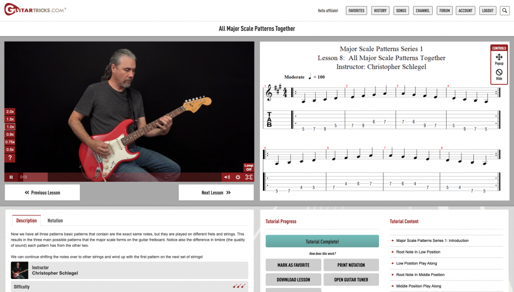 page de cours guitar tricks
