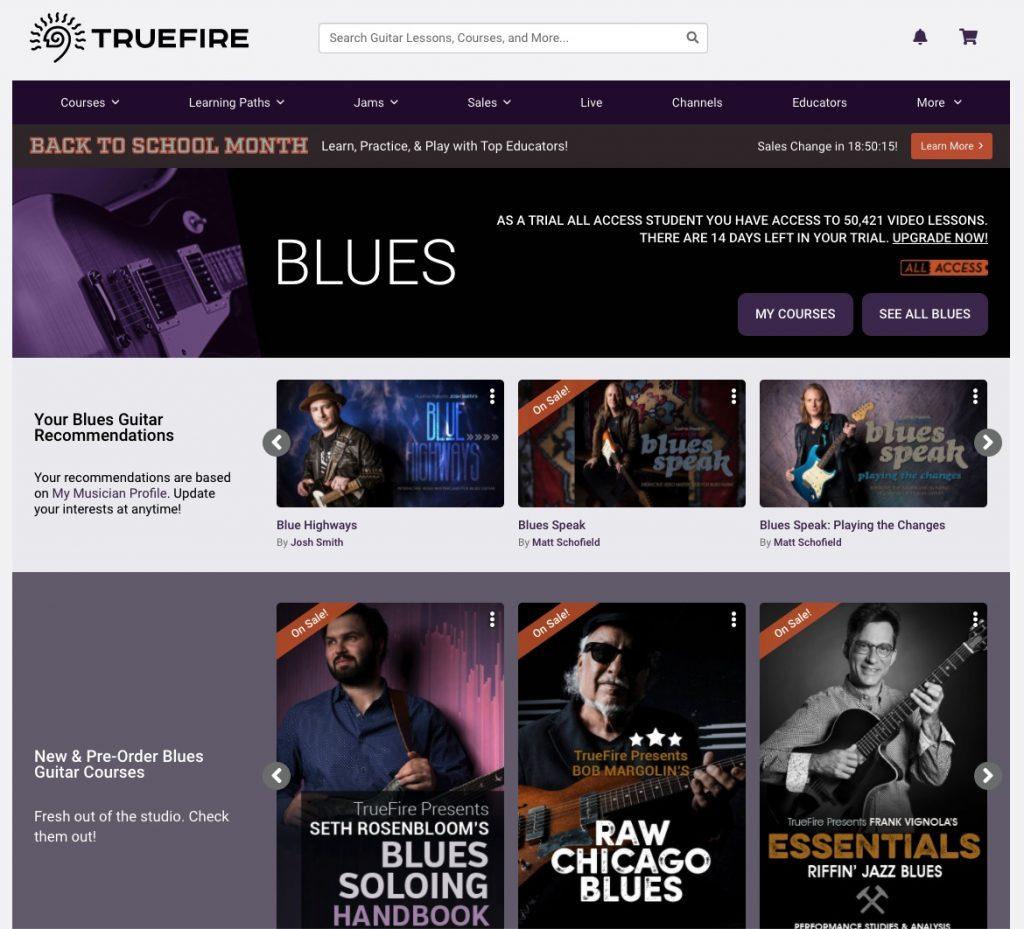 catalogue cours de blues truefire