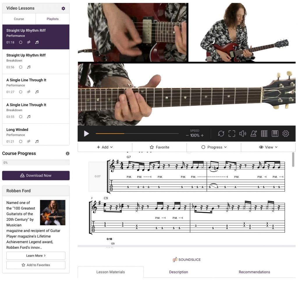 page de cours robben ford truefire